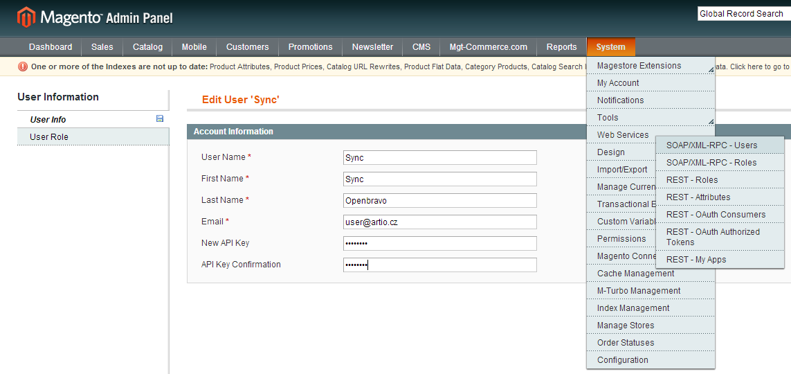 Creating Magento Xml-rpc user