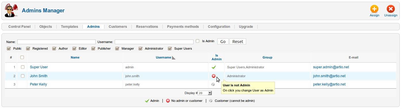 The backend booking administrators setting