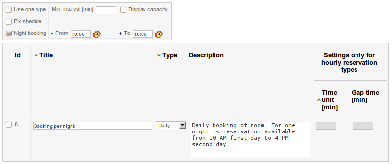 The simple example of reservation type for hotel room (backend)