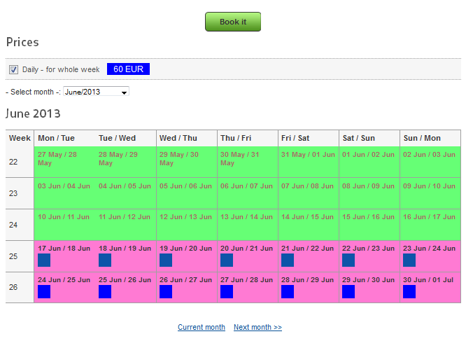 Example of booking of room for whole week (frontend)